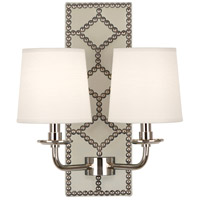 Robert Abbey S1032 Williamsburg Lightfoot 2 Light 14 inch Bruton White Leather with Polished Nickel Wall Sconce Wall Light