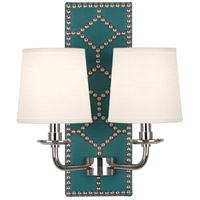 Robert Abbey S1033 Williamsburg Lightfoot 2 Light 14 inch Mayo Teal Leather with Polished Nickel Wall Sconce Wall Light