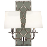 Robert Abbey S1034 Williamsburg Lightfoot 2 Light 14 inch Carter Grey Leather with Polished Nickel Wall Sconce Wall Light