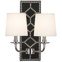 Robert Abbey S1035 Williamsburg Lightfoot 2 Light 14 inch Blacksmith Black Leather with Polished Nickel Wall Sconce Wall Light