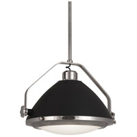 Robert Abbey S1567 Apollo 1 Light 22 inch Polished Nickel with Charcoal Grey Pendant Ceiling Light in Charcoal Gray