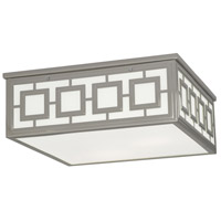 Jonathan Adler Parker 3 Light 17 inch Polished Nickel Flush Mount Ceiling Light in White Glass
