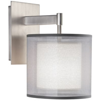 Robert Abbey S2192 Saturnia 1 Light 8 inch Stainless Steel Wall Sconce Wall Light in Silver Transparent With Ascot White