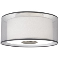 Robert Abbey S2197 Saturnia 2 Light 15 inch Stainless Steel Flushmount Ceiling Light in Silver Transparent With Ascot White