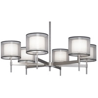 Robert Abbey S2198 Saturnia 6 Light 15 inch Stainless Steel Chandelier Ceiling Light in Silver Transparent With Ascot White