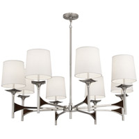 Robert Abbey S3396 Trigger 8 Light 42 inch Polished Nickel with Dark Walnut Wood Chandelier Ceiling Light