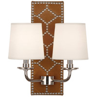 Robert Abbey S350 Williamsburg Lightfoot 2 Light 14 inch English Ochre Leather and Polished Nickel Wall Sconce Wall Light