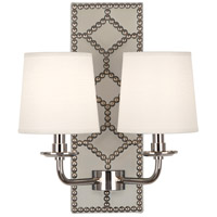 Robert Abbey S352 Williamsburg Lightfoot 2 Light 14 inch Bruton White Leather and Polished Nickel Wall Sconce Wall Light