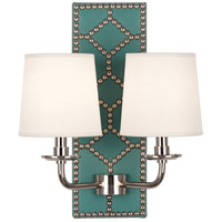 Robert Abbey S353 Williamsburg Lightfoot 2 Light 14 inch Mayo Teal Leather and Polished Nickel Wall Sconce Wall Light