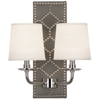 Robert Abbey S354 Williamsburg Lightfoot 2 Light 14 inch Carter Gray Leather and Polished Nickel Wall Sconce Wall Light