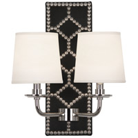 Robert Abbey S355 Williamsburg Lightfoot 2 Light 14 inch Blacksmith Black Leather and Polished Nickel Wall Sconce Wall Light