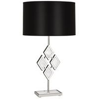 Edward 29 inch 150 watt Polished Nickel Table Lamp Portable Light in Black Parchment, White Marble Accents