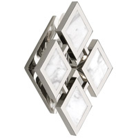 Edward 2 Light 8 inch Polished Nickel Wall Sconce Wall Light, White Marble Accents