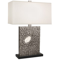 Robert Abbey S415 Goliath 27 inch 100 watt Antiqued Polished Nickel with White Rock Crystal Table Lamp Portable Light