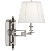 Robert Abbey S417 Williamsburg Lewis 24 inch 100 watt Antique Silver with Deep Patina Bronze Wall Swinger Wall Light