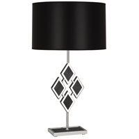 Edward 29 inch 150 watt Polished Nickel Table Lamp Portable Light in Black Parchment, Black Marble Accents