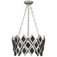 Edward 3 Light 18 inch Polished Nickel Pendant Ceiling Light, Black Marble Accents