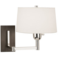 Robert Abbey S4237 Wonton 18 inch 100 watt Silver Plate with Weathered Ebonyed Wood Wall Swinger Wall Light in Weathered Eboneyed Wood, Off-White Linen