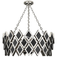 Robert Abbey S424 Edward 4 Light 15 inch Polished Nickel with Black Marble Chandelier Ceiling Light