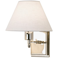 Meilleur 15 inch 100 watt Polished Nickel Swing Lamp Wall Light in Off-White Linen