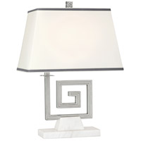 Robert Abbey S440 Jonathan Adler Mykonos 21 inch 100 watt Polished Nickel Table Lamp Portable Light in White Marble