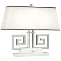 Robert Abbey S441 Jonathan Adler Mykonos 21 inch 60 watt Polished Nickel Table Lamp Portable Light in White Marble