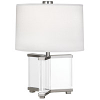 Robert Abbey S470 Fineas 16 inch 60 watt Clear Crystal with Polished Nickel Accent Lamp Portable Light in Ascot White