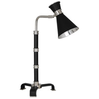 Robert Abbey S590 Jonathan Adler Voltaire 18 inch 60 watt Polished Nickel and Black Leather Table Lamp Portable Light