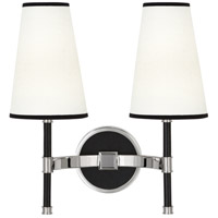 Robert Abbey S593 Jonathan Adler Voltaire 2 Light 16 inch Polished Nickel with Black Leather Wall Sconce Wall Light