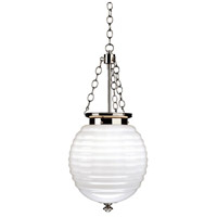 Robert Abbey S616 Beehive 3 Light 11 inch Polished Nickel Pendant Ceiling Light in White Cased Glass thumb