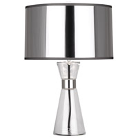 Robert Abbey S810 Penelope 21 inch 100 watt Clear Glass with Polished Nickel Accent Lamp Portable Light in Silver Mylar With White Ceramik