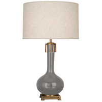 Robert Abbey ST992 Athena 32 inch 150 watt Smoky Taupe with Aged Brass Table Lamp Portable Light
