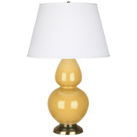 Robert Abbey SU20X Double Gourd 31 inch 150 watt Sunset Yellow Table Lamp Portable Light in Antique Brass Pearl Dupioni