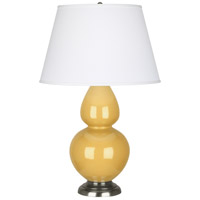 Robert Abbey SU22X Double Gourd 31 inch 150 watt Sunset Yellow Table Lamp Portable Light in Antique Silver Pearl Dupioni