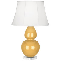 Robert Abbey SU23 Double Gourd 30 inch 150 watt Sunset Yellow Table Lamp Portable Light in Lucite Ivory Silk
