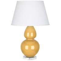 Robert Abbey SU23X Double Gourd 30 inch 150 watt Sunset Yellow Table Lamp Portable Light in Lucite Pearl Dupioni