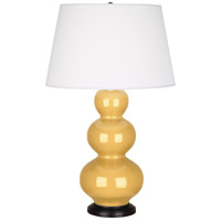Robert Abbey SU41X Triple Gourd 33 inch 150 watt Sunset Yellow Table Lamp Portable Light in Deep Patina Bronze