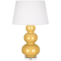 Robert Abbey SU43X Triple Gourd 33 inch 150 watt Sunset Yellow Table Lamp Portable Light in Lucite