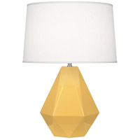 Robert Abbey SU930 Delta 23 inch 150 watt Sunset Yellow with Polished Nickel Table Lamp Portable Light in Oyster Linen