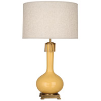 Robert Abbey SU992 Athena 32 inch 150 watt Sunset Yellow with Aged Brass Table Lamp Portable Light
