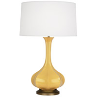 Robert Abbey SU994 Pike 32 inch 150 watt Sunset Yellow Table Lamp Portable Light in Aged Brass