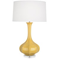 Robert Abbey SU996 Pike 33 inch 150 watt Sunset Yellow Table Lamp Portable Light in Lucite