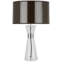 Robert Abbey T809 Penelope 30 inch 150 watt Clear Glass with Polished Nickel Table Lamp Portable Light in Taupe Ceramik With Silver Mylar