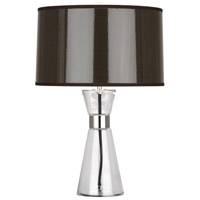 Robert Abbey T810 Penelope 21 inch 100 watt Clear Glass with Polished Nickel Accent Lamp Portable Light in Taupe Ceramik With Silver Mylar