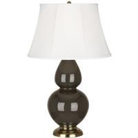 Robert Abbey TE20 Double Gourd 31 inch 150 watt Brown Tea Table Lamp Portable Light in Antique Brass Ivory Silk