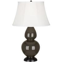 Robert Abbey TE21 Double Gourd 31 inch 150 watt Brown Tea Table Lamp Portable Light in Deep Patina Bronze Ivory Silk