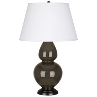 Robert Abbey TE21X Double Gourd 31 inch 150 watt Brown Tea Table Lamp Portable Light in Deep Patina Bronze Pearl Dupioni