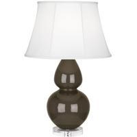 Robert Abbey TE23 Double Gourd 30 inch 150 watt Brown Tea Table Lamp Portable Light in Lucite Ivory Silk