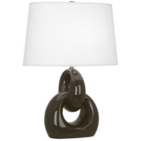 Robert Abbey TE981 Fusion 27 inch 150 watt Brown Tea with Polished Nickel Table Lamp Portable Light