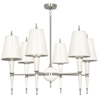 Robert Abbey W604 Jonathan Adler Versailles 6 Light 31 inch Lily Lacquer with Polished Nickel Chandelier Ceiling Light in Lily With Matte Silver